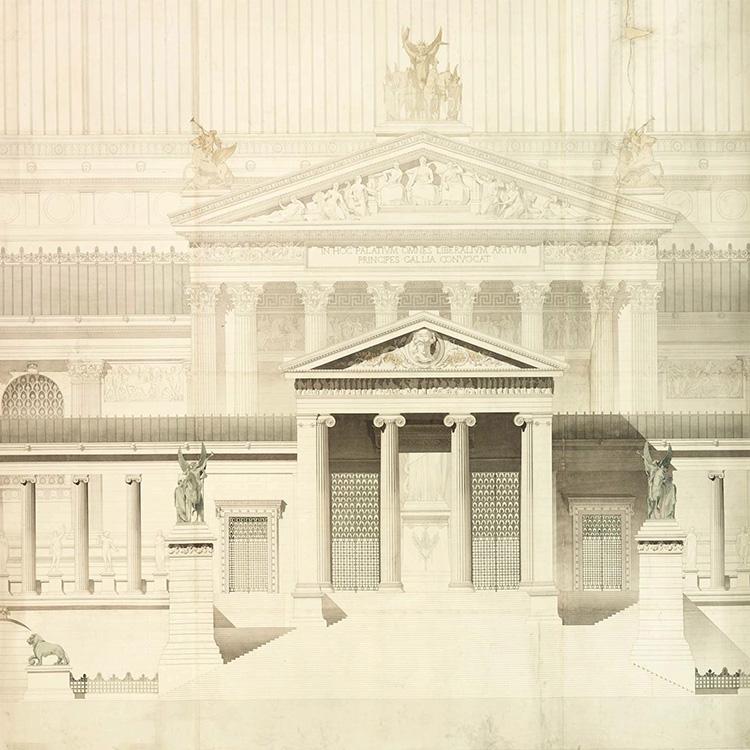 1876 - Dessin BLONDEL, Façade Grand Prix de Rome